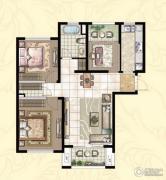 银洲皇家学苑3室2厅1卫115平方米户型图