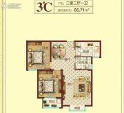 豫飞金色怡苑2室2厅1卫85平方米户型图