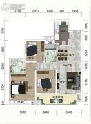 绿地越秀海�h3室2厅2卫98平方米户型图