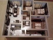 蓝光天娇城3室2厅1卫66平方米户型图