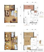 力帆红星国际广场1室2厅2卫91平方米户型图