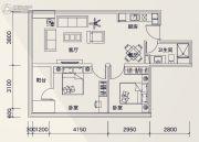 广州绿地中央广场2室2厅1卫91平方米户型图