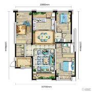 万科银海泊岸3室2厅2卫127平方米户型图