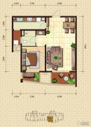 金梦海湾1号1室2厅1卫87平方米户型图