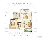 和世新都3室2厅1卫88平方米户型图