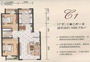 英伦华府2室2厅1卫100--101平方米户型图