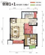 旭阳台北城1室1厅1卫45平方米户型图