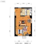 万科金地・中山公园2室2厅1卫90平方米户型图