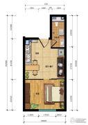 汇雄时代1室2厅1卫0平方米户型图