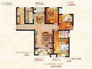 绿地新都会3室2厅2卫120平方米户型图