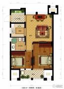 金都夏宫2室2厅1卫74平方米户型图