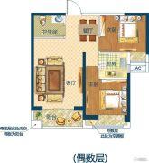 深业世纪新城2室2厅1卫70平方米户型图