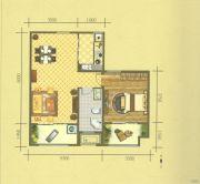 保利华庭1室2厅1卫78平方米户型图