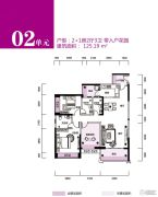 锦富・汇景湾3室2厅3卫125平方米户型图