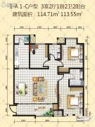 丽彩广场逸景阁3室2厅2卫113--114平方米户型图