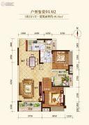 龙溪新城3室2厅1卫95平方米户型图