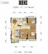 国采光立方3室2厅1卫104平方米户型图