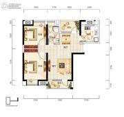 福星惠誉福星华府2室2厅1卫89平方米户型图