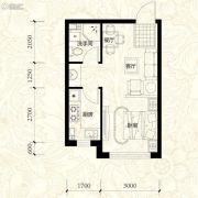 雍华御景1室2厅1卫39平方米户型图