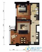 华远九都汇1室2厅1卫76平方米户型图