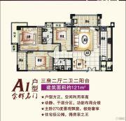 金南门3室2厅2卫121平方米户型图