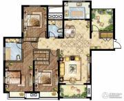 世茂香槟湖4室2厅2卫166平方米户型图