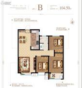 泰华・梧桐苑一期3室2厅1卫104平方米户型图