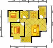 中天优诗美地2室2厅1卫89平方米户型图