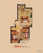 润天观湖国际2室2厅1卫88平方米户型图