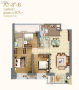 世茂海峡城3室2厅2卫107平方米户型图