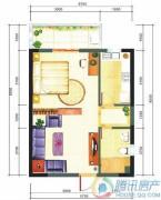 华业临海1室1厅1卫58平方米户型图