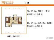上上城青年新城2室2厅1卫69平方米户型图