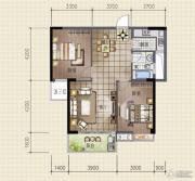 领秀资江2室2厅1卫90平方米户型图