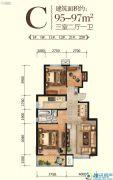 山海壹号3室2厅1卫95--96平方米户型图
