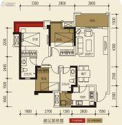 保利玫瑰花语3室2厅2卫86平方米户型图