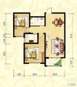 众和凤凰城2室2厅1卫91平方米户型图