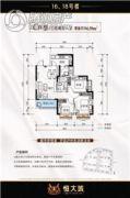 泸州恒大城3室2厅1卫94平方米户型图