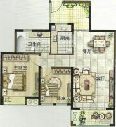 绿都万和城2室2厅1卫90平方米户型图