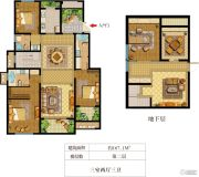 华盟天河湾3室2厅3卫167平方米户型图