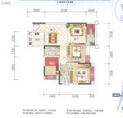 云星钱隆天誉2室2厅2卫84平方米户型图