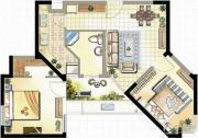 高成天鹅湖2室1厅1卫82--86平方米户型图
