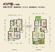 丽湖名居二期5室2厅3卫215平方米户型图