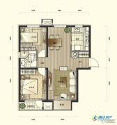 万科假日风景2室2厅1卫95平方米户型图