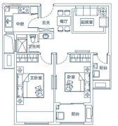 东润玺城2室2厅1卫74平方米户型图