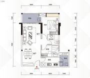 富力现代广场2室2厅1卫81平方米户型图
