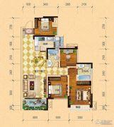内江万达广场・中央华城4室2厅2卫98平方米户型图