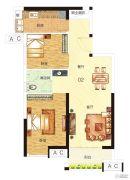 中海誉城2室2厅1卫65平方米户型图