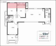 天朗大兴郡3室2厅1卫0平方米户型图