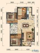 一方南岭国际3室2厅2卫132平方米户型图