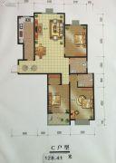 于家庄左邻右舍3室2厅2卫128平方米户型图